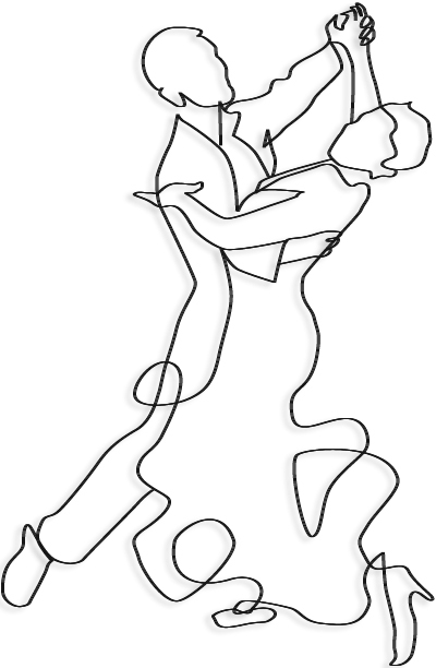 proposal drawing of wire mural of ballroom dancers